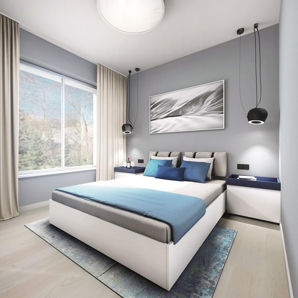 apartament niebieski 33,47m2 sypialnia1-min